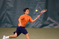 Trent Huey in action during the men's #1 double match against W&M.  The #1 ranked Virginia Cavaliers men's tennis team faced the #43 ranked William and Mary Tribeat the Boyd Tinsley Courts at the Boars Head Inn in Charlottesville, VA on January 20, 2008.