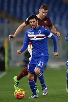 Roberto Soriano Sampdoria, Edin Dzeko Roma <br /> Roma 07-02-2016 Stadio Olimpico, Football Calcio 2015/2016 Serie A. AS Roma - Sampdoria . Foto Andrea Staccioli / Insidefoto