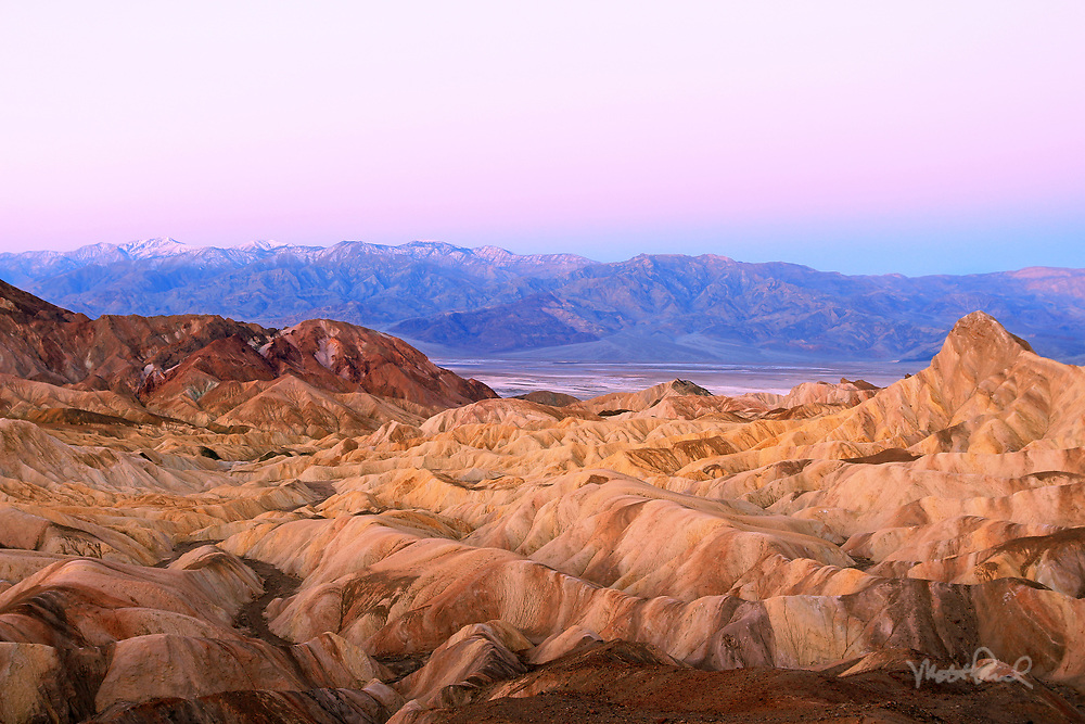 This morning under the milky way drove out the this infamous spot. With headlamp, battling the 30mph winds along a narrow trail I finally arrived at this sweeping location. I was trying to capture the sunrise at Zabriskie Point.