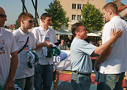 Nebojsa Joksimovic, Jaka Klobucar, Emir Preldzic, Zoran Jankovic and Raso Nesterovic at press conference and after time with fans of Slovenian basketball National Team before departure to Athens for Olympic qualifications, on July 12, 2008, at Presernov trg, in Ljubljana, Slovenia. (Photo by Vid Ponikvar / Sportal Images)