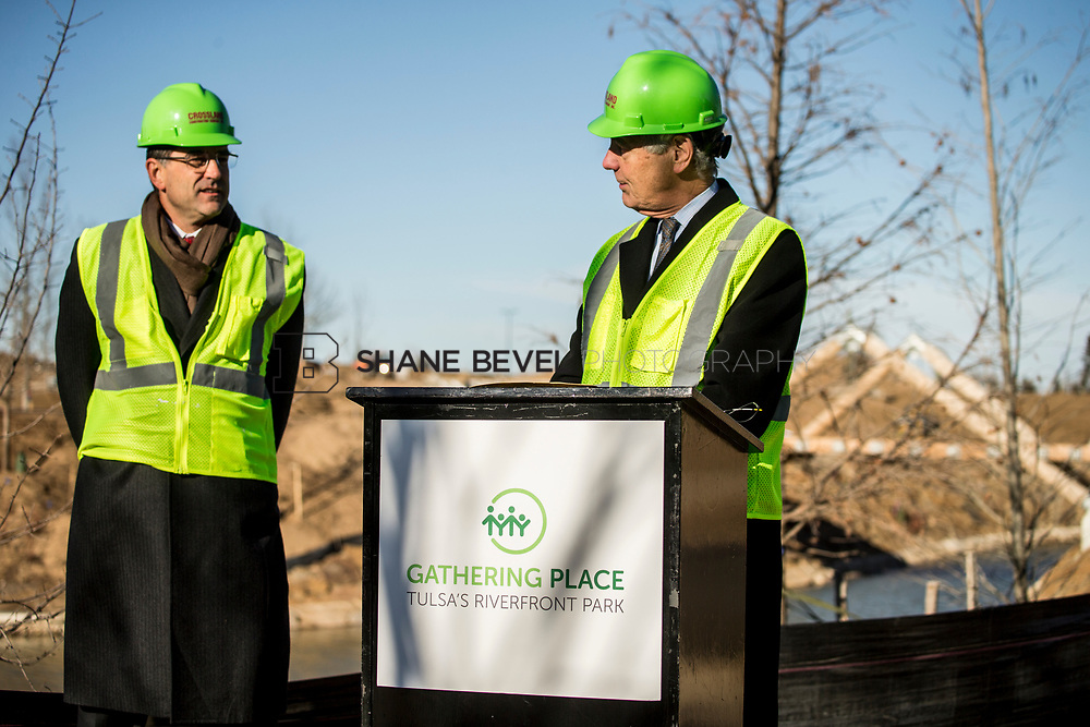 1/12/18 11:06:36 AM -- Halliburton CEO Jeff Miller and George Kaiser visit the Gathering Place for a press conference announcing Halliburton's support for the park. <br /> <br /> Photo by Shane Bevel