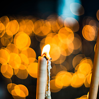 Votive candles, El Rocio sanctuary Andalusia, Spain.
