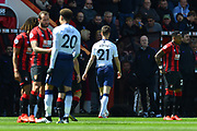 Red Card - Juan Foyth (21) of Tottenham Hotspur walks off after being shown a red card for a dangerous tackle during the Premier League match between Bournemouth and Tottenham Hotspur at the Vitality Stadium, Bournemouth, England on 4 May 2019.