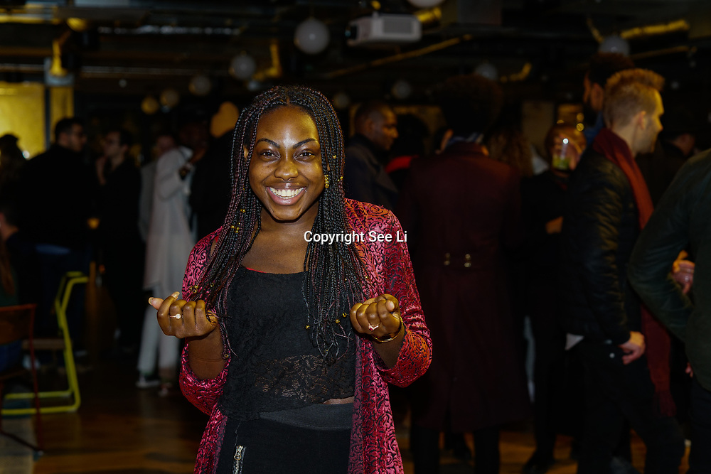 London, England, UK. 1st December 2017. Peace-Sarah -choreographer attends Sagaboi Magazine: Men's Style 2017 - book launch held at WeWork Old Street.
