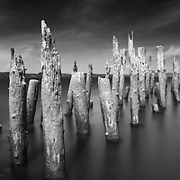 A long exposure of an abandoned pier in Astoria, Oregon.