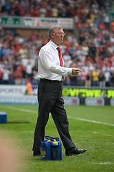 WIGAN, ENGLAND - Sunday, May 11, 2008: Manchester United's manager Alex Ferguson during the final Premiership match of the season against Wigan Athletic at the JJB Stadium. (Photo by David Rawcliffe/Propaganda)