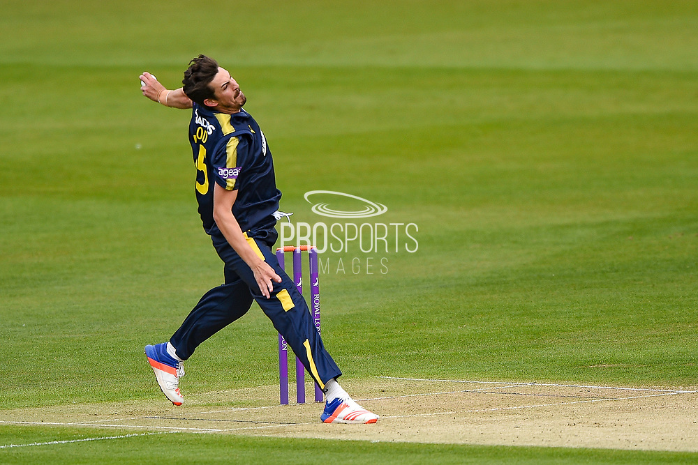 Chris Wood of Hampshire bowling during the Royal London One Day Cup match between Kent Spitfires and Hampshire  at the Spitfire Ground, Canterbury, United Kingdom on 27 April 2017. Photo by Martin Cole.