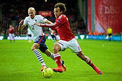 COPENHAGEN, DENMARK - Sunday, October 11, 2015: Denmark's Martin Braithwaite in action against France's Christophe Jallet during the friendly game at Parken Stadium. (Pic by Lexie Lin/Propaganda)