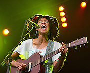 CAMBRIDGE, UK - JULY 28: Valerie June performs on stage at the Cambridge Folk Festival on July 28th, 2013 in Cambridge, United Kingdom. (Photo by Philip Ryalls/Redferns)**Valerie June