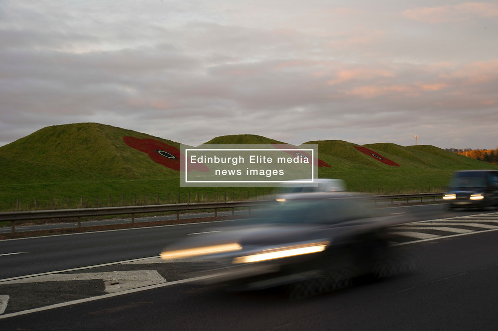 The Pyramid Industrial Park's poppy display is impressive each year but just how many of those rushing past to Glasgow or Edinburgh spare a thought for those who have fallen in the wars.<br /> (c) Ger Harley | Edinburgh Elite media 4 November 2016