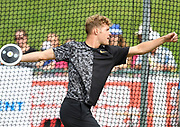 Kevin Mayer (FRA) throws 164-6 (50.15m) in the discus during the decathlon at the DecaStar meeting, Saturday, June 23, 2019, in Talence, France. (Jiro Mochizuki/Image of Sport)