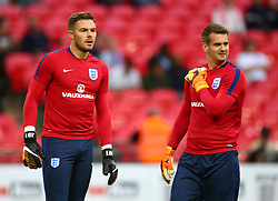 September 4, 2017 - London, England, United Kingdom - L-R England's Jack Butland and England's Tom Heaton during the pre-match warm-up ..during World Cup Qualifying - European Group F match between England  and Slovakia  at Wembley stadium, London  on 05 Sept , 2017  (Credit Image: © Kieran Galvin/NurPhoto via ZUMA Press)
