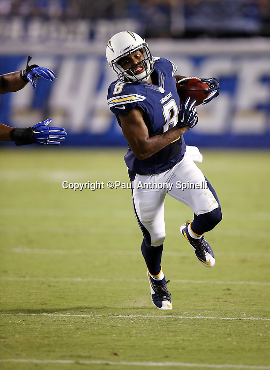San Diego Chargers punt returner Tyrell Williams (6) returns a punt 24 yards to the Dallas Cowboys 1 yard line in the third quarter during the 2015 NFL preseason football game against the Dallas Cowboys on Thursday, Aug. 13, 2015 in San Diego. The Chargers won the game 17-7. (©Paul Anthony Spinelli)