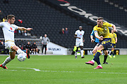 Coventry City midfielder Jordan Shipley (26) takes a shot at goal during the EFL Sky Bet League 1 match between Milton Keynes Dons and Coventry City at stadium:mk, Milton Keynes, England on 19 October 2019.