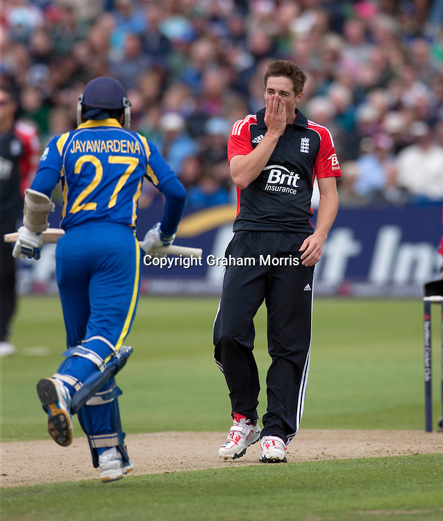 Bowler Chris Woakes frustrated by Mahela Jayawardene's four during the T20 international between England and Sri Lanka at Bristol.  Photo: Graham Morris /photosport.co.nz