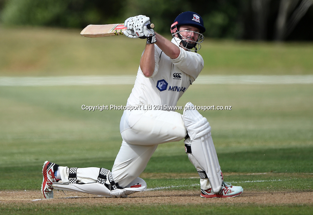 Auckland's Colin Munro during his century innings at the Plunket Shield 4 day cricket match between Auckland and Canterbury at the Colin Maiden Oval, Auckland, New Zealand. Tuesday 3 March 2014. Copyright Photo: Andrew Cornaga / www.Photosport.co.nz