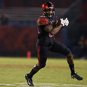 10 September 2016: The San Diego State Aztecs football team hosts Cal in their second game of the season. San Diego State wide receiver Eric Judge (81) makes a reception in the third quarter against Cal. The Aztecs lead 31-21 at halftime.