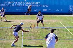 LIVERPOOL, ENGLAND - Sunday, June 18, 2017: Robert Kendrick (USA) and Ken Skupski (GBR) during Day Four of the Liverpool Hope University International Tennis Tournament 2017 at the Liverpool Cricket Club. (Pic by David Rawcliffe/Propaganda)