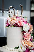 wedding cake with flowers roses at Landerhaven by Tallmadge wedding photographer, Akron wedding photographer Mara Robinson Photography