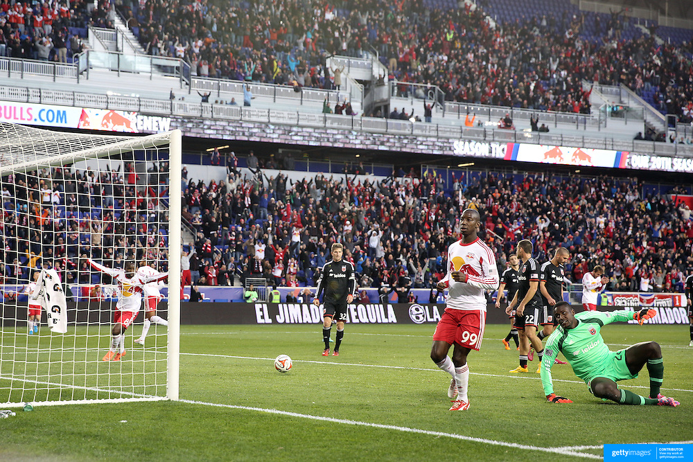 Bradley Wright-Phillips, (right), New York Red Bulls, celebrates after scoring his sides first goal past goalkeeper Bill Hamid, DC United, during the New York Red Bulls V DC United, MLS Cup Playoffs, Eastern Conference Semifinals first leg at Red Bull Arena, Harrison, New Jersey. USA. 2nd November 2014. Photo Tim Clayton