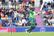 Kagiso Rabada of South Africa batting during the ICC Cricket World Cup 2019 match between South Africa and India at the Hampshire Bowl, Southampton, United Kingdom on 5 June 2019.