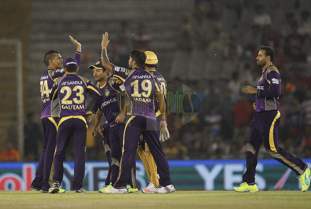 Sunil Narine of Kolkata Knight Riders celebrates the wicket of  Glenn Maxwell of Kings XI Punjab during match 13 of the Vivo Indian Premier League ( IPL ) 2016 between the Kings XI Punjab and the Kolkata Knight Riders held at the IS Bindra Stadium, Mohali, India on the 19th April 2016<br /> <br /> Photo by Ron Gaunt / IPL/ SPORTZPICS