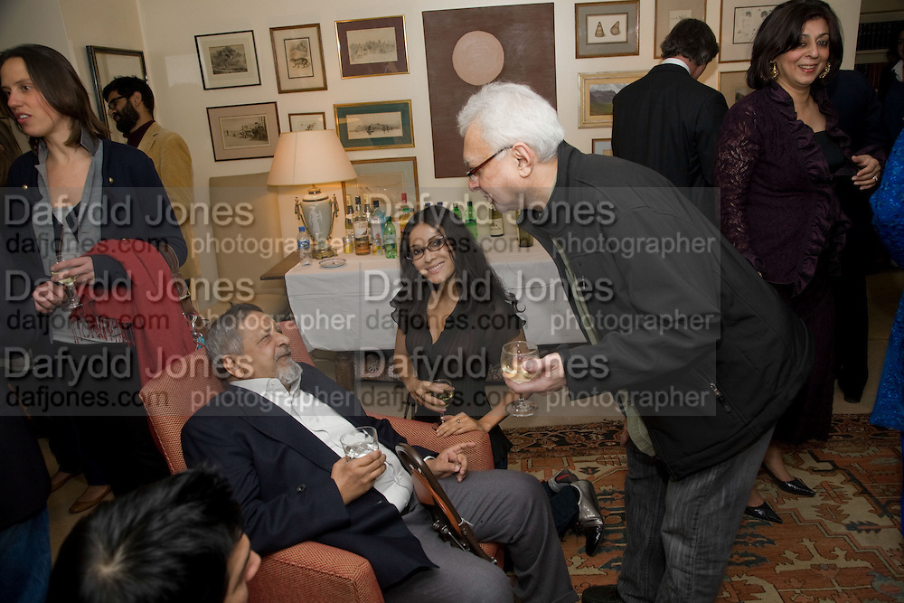 V.S. NAIPAUL;,; NANDANA SEN;  Faroukh Dhondy;  Aatish Taseer  book launch party for his new book Stranger To History. Travel book asks what it means to be a Muslim in the 21st century. Hosted by Gillon Aitken. Kensington, London. 30 March 2009