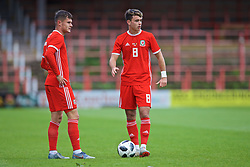 WREXHAM, WALES - Friday, September 6, 2019: Wales' Liam Cullen (L) and Robbie Burton during the UEFA Under-21 Championship Italy 2019 Qualifying Group 9 match between Wales and Belgium at the Racecourse Ground. (Pic by Laura Malkin/Propaganda)