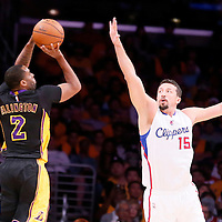 31 October 2014: Los Angeles Lakers guard Wayne Ellington (2) takes a jump shot over Los Angeles Clippers forward Hedo Turkoglu (15) during the Los Angeles Clippers 118-111 victory over the Los Angeles Lakers, at the Staples Center, Los Angeles, California, USA.