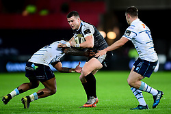,Scott Williams of Ospreys is tackled by Rey Lee-Lo of Cardiff Blues<br /> Mandatory Credit ©INPHO/Ryan Hiscott - Ryan Hiscott/JMP - 21/12/19 - SPORT - Liberty Stadium - Swansea, Wales - Saturday, Dec 21 2019 - Guinness PRO14 Ospreys vs Cardiff Blues