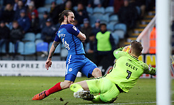 Jack Marriott of Peterborough United has a shot saved by Mark Oxley of Southend United - Mandatory by-line: Joe Dent/JMP - 03/02/2018 - FOOTBALL - ABAX Stadium - Peterborough, England - Peterborough United v Southend United - Sky Bet League One