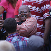 James Lloyd, CENTER, of Pieces of a Dream an American R&B and jazz band performs in the crowd during the 27th DuPont Clifford Brown Jazz Festival Saturday, June 20, 2015, at Rodney Square in Wilmington, Delaware.