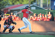 Mississippi's Sikes Orvis (24) doubles against Louisiana-Lafayette in an NCAA Super Regional game in Lafayette, La. on Saturday, June 7, 2014.    Louisiana-Lafayette won 9-5.