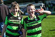Young FGR supporters celebrating during the Vanarama National League Play Off second leg match between Forest Green Rovers and Dagenham and Redbridge at the New Lawn, Forest Green, United Kingdom on 7 May 2017. Photo by Shane Healey.