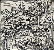 Prospecting for metals using divining rods (A,A) and trenching (B). Divining rods were used in exactly the same manner for water divining (dowsing).   From 'De re metallica', by Agricola, pseudonym of Georg Bauer (Basle, 1556).  Woodcut.
