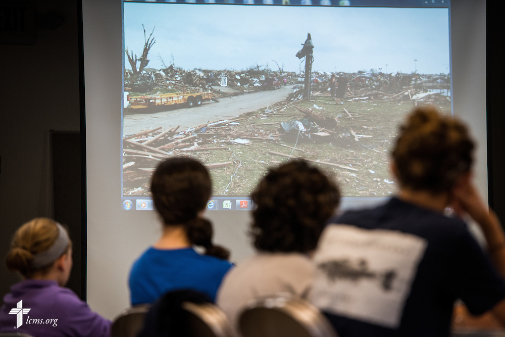 Participants in the 2014 Youth Corps pilot project watch a video during a presentation given by the Rev. Ross Johnson, director of LCMS Disaster Response, at Shepherd of the City Lutheran Church on Wednesday, August 13, 2014, in Philadelphia, Pa. LCMS Communications/Erik M. Lunsford