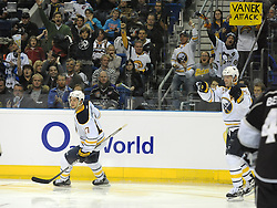 08.10.2011, O2 World, Berlin, Linz, GER, NHL, Buffalo Sabres vs LA Kings, im Bild Thomas Vanek and Marc-Andre Gragnani (Buffalo Sabres, #26 and #17), during the Compuware NHL Premiere, O2 World Berlin, Berlin, Germany, 2011-10-08, EXPA Pictures © 2011, PhotoCredit: EXPA/ Reinhard Eisenbauer