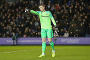 Everton Jordan Pickford gestures during the The FA Cup fourth round match between Millwall and Everton at The Den, London, England on 26 January 2019.