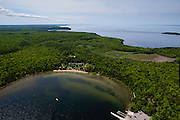 Aerial view of the Nicolet Bay beach area of Peninsula State Park, Door County, Wisconsin, between the towns of Fish Creek and Ephraim.