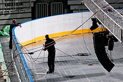 Workers at preparing Ice in Arena Stozice for World Championship Div. I on April 10, 2012 at SRC Stozice, Ljubljana, Slovenia. (Photo By Matic Klansek Velej / Sportida.com)