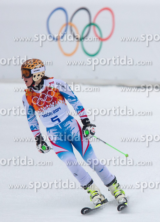 18.02.2014, Rosa Khutor Alpine Resort, Krasnaya Polyana, RUS, Sochi, 2014, Riesenslalom, Damen, 2. Durchgang, im Bild Silbermedaillen Gewinnerin Anna Fenninger (AUT) // silver  Medalist Anna Fenninger of Austria reacts in the finish area during the 2nd run of ladies Giant Slalom to the Olympic Winter Games Sochi 2014 at the Rosa Khutor Alpine Resort, Krasnaya Polyana, Russia on 2014/02/18. EXPA Pictures © 2014, PhotoCredit: EXPA/ Johann Groder