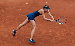 May 29, 2018 - Paris, France - Maria Sharapova of Russia returns the ball to Richel Hogenkamp of Netherland during the first round at Roland Garros Grand Slam Tournament - Day 3 on May 29, 2018 in Paris, France. (Credit Image: © Robert Szaniszlo/NurPhoto via ZUMA Press)