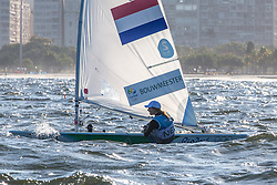2de plaats race 10 dag 5, 2016 Olympic Sailing Games-Rio-Brazil, ANP Copyright Thom Touw lr-NED- Marit Bouwmeester- Laser Radial, Marit is al zeker van Bronze, Olympische Spelen Zeilen,