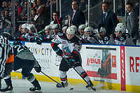 KELOWNA, BC - JANUARY 24: Owen Williams #25 of the Seattle Thunderbirds stick checks Kyle Topping #24 of the Kelowna Rockets as he skates with the puck at Prospera Place on January 24, 2020 in Kelowna, Canada. (Photo by Marissa Baecker/Shoot the Breeze)