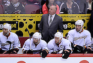 Mar. 2, 2013; Glendale, AZ, USA; Anaheim Ducks head coach Bruce Boudreau watches from the bench in the game against the Phoenix Coyotes at Jobing.com Arena. The Coyotes defeated the Ducks in a shootout 5-4. Mandatory Credit: Jennifer Stewart-USA TODAY Sports
