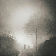 A couple on a stroll through a foggy autumn morning landscape