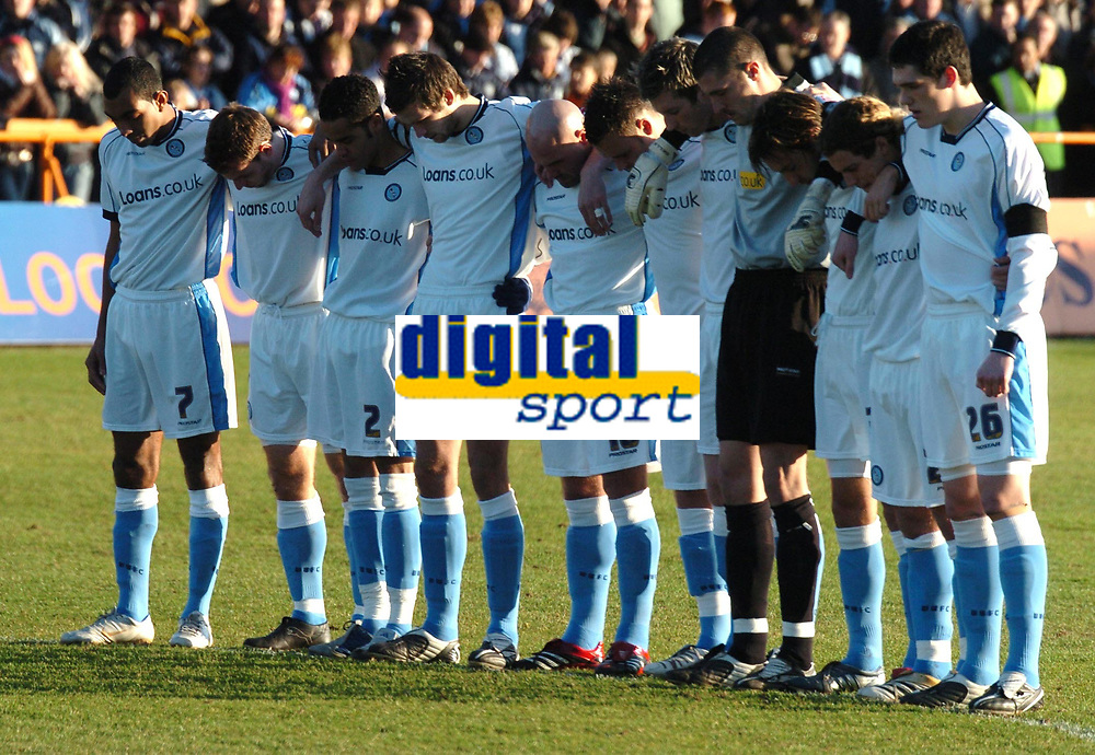 Photo: Ian Hebden.<br />Barnet FC v Wycombe Wanderers. Coca Cola League 2. 21/01/2006.<br />A minutes silence was held prior to kick off for Wycombe player Mark Filo. Wycombe player's pay their respect.