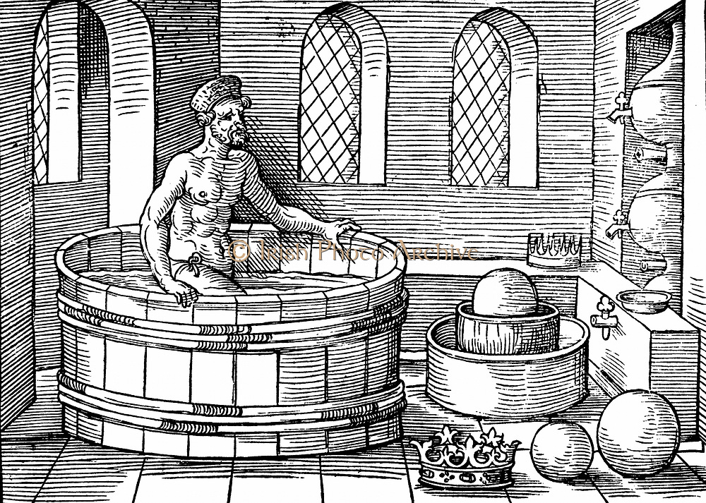 Archimedes (c287-212 BC) Ancient Greek mathematician and inventor, in his bath. Discovered formulae for calculating areas and volumes of plane and solid figures.  Supposed to have shouted 'Eureka' on discovering principle of upthrust on a floating body. Woodcut 1547.