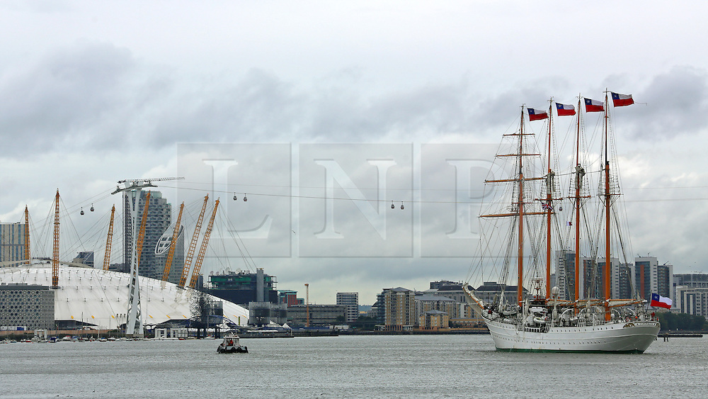 © Licensed to London News Pictures. 30/08/2015.  Photographs of the controversial Chilean tall ship Esmeralda arriving in London last week (26/08/2015). The four masted sail training ship from Chile was used as a prison and torture ship for political opponents of General Pinochet during his rule. Esmeralda's visits are often accompanied by protests and yesterday (Saturday) there was a small protest at West India Docks, Canary Wharf, where she is moored. . Credit : Rob Powell/LNP
