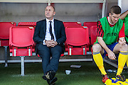 Accrington Stanley manager John Coleman in the dugout during the Sky Bet League 2 match between Crawley Town and Accrington Stanley at the Checkatrade.com Stadium, Crawley, England on 26 September 2015. Photo by Bennett Dean.